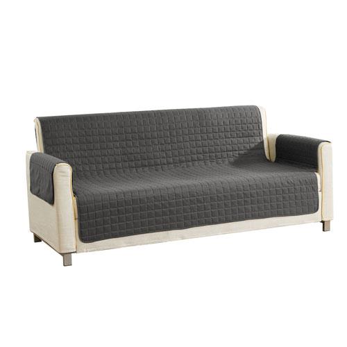 Duck River Textile Alba Grey Black Reversible Waterproof Microfiber Sofa Cover