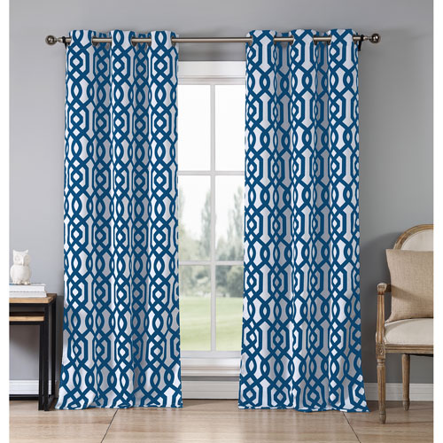 Duck River Textile Ashmont Royal Blue Printed 84 x 38 In. Blackout Grommet Panel Pair