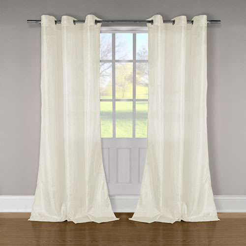 Duck River Textile Aurora Ivory Crushed Taffeta 84 x 52 In. Grommet Panel