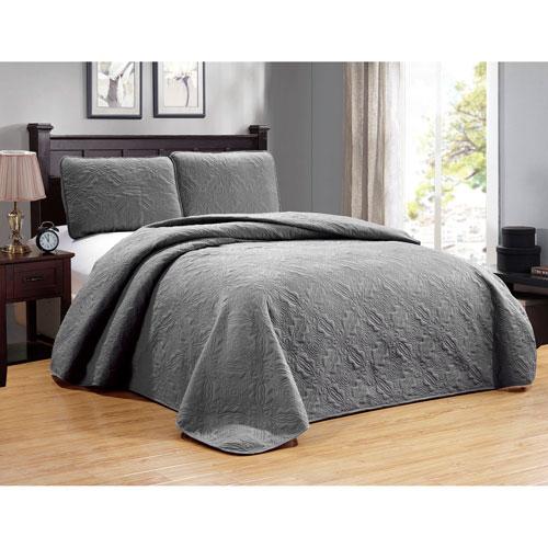 Duck River Textile Carlotta Grey Full/Queen Three-Piece Bedspread Set