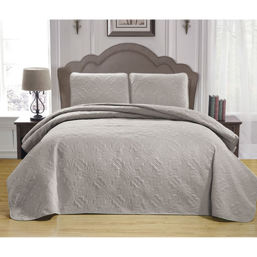 Carlotta Taupe Full/Queen Three-Piece Bedspread Set