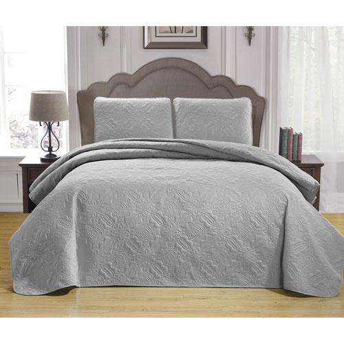 Duck River Textile Carlotta Silver Full/Queen Three-Piece Bedspread Set