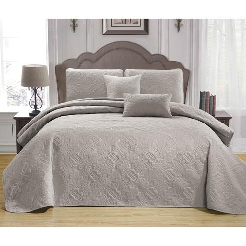 Carlotta Taupe Full/Queen Five-Piece Bedspread Set