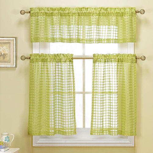Cleo Check Sage Three-Piece Faux Linen Kitchen Curtain Set
