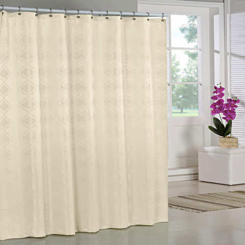 Crystal Ivory Jacquard Shower Curtain