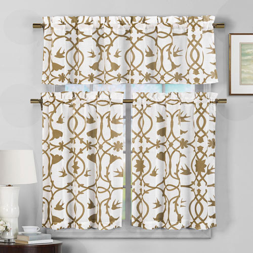 Duck River Textile Dawn Wheat Faux Linen Three-Piece Kitchen Curtain Set