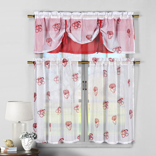 Dolores Cherry and Strawberry Embroidered Three-Piece Kitchen Curtain Set