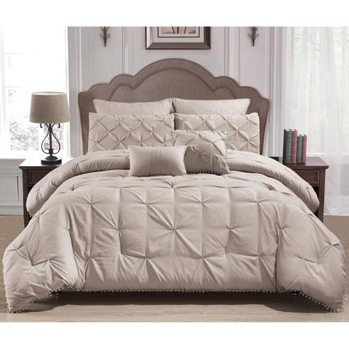Esmalinda Taupe Queen Seven-Piece Comforter Set
