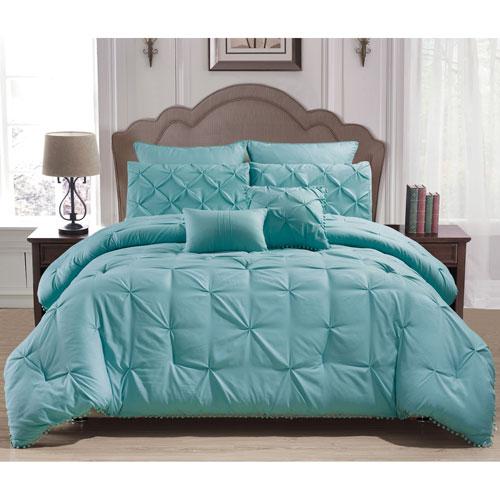 Esmalinda Aqua Queen Seven-Piece Comforter Set