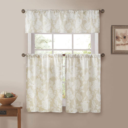 Ewva Linen Look Jacquard Three-Piece Kitchen Curtain Set