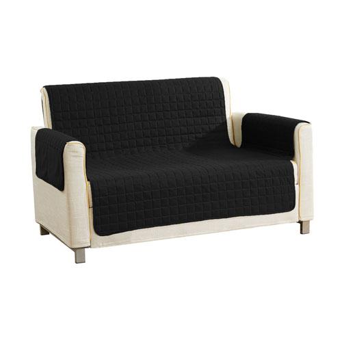 Fifi Black Reversible Waterproof Microfiber Love Chair Cover