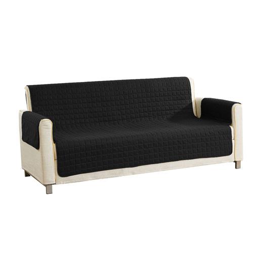 Fifi Black Reversible Waterproof Microfiber Sofa Cover