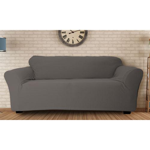 Duck River Textile Hanover Grey Stretch Velvet Sofa Cover