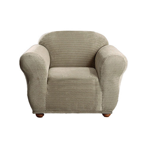Duck River Textile Hayden Taupe Diamond Velvet Chair Cover