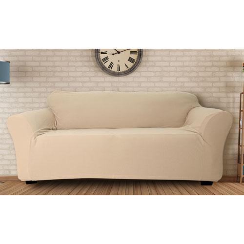 Duck River Textile Hanover Taupe Stretch Velvet Sofa Cover