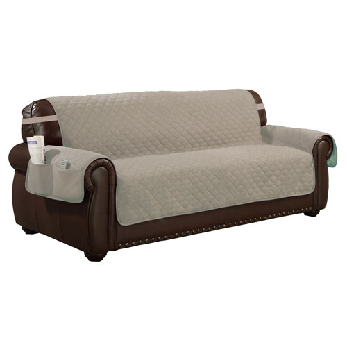 Jameson Chocolate-Natural Reversible Waterproof Microfiber Extra-Sofa Cover with Elastic Buckle