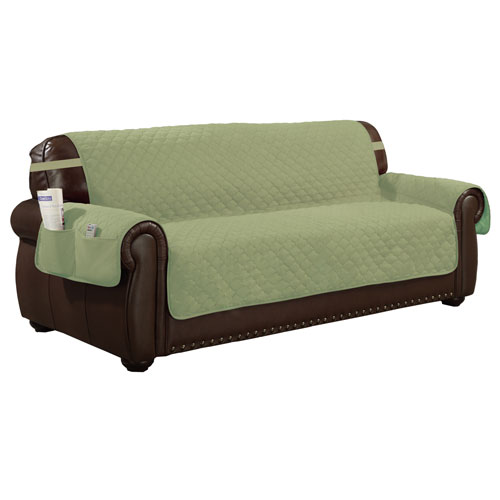 Jameson Sage-Chocolate Reversible Waterproof Microfiber Extra-Sofa Cover with Elastic Buckle
