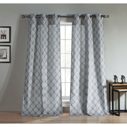 Kenilworth Indigo Jacquard 96 x 38 In. Grommet Panel Pair