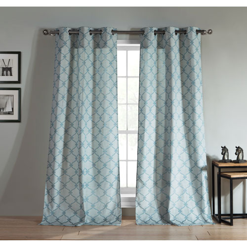Duck River Textile Kenilworth Teal Jacquard 96 x 38 In. Grommet Panel Pair