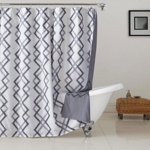 Kelsey Flocking Grey and White Reversible Shower Curtain