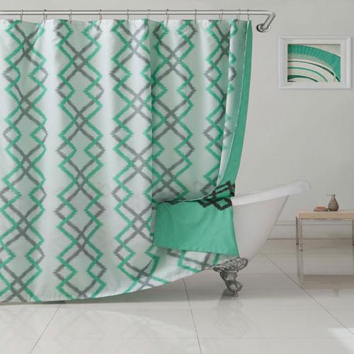 Kelsey Flocking Seafoam  Reversible Shower Curtain
