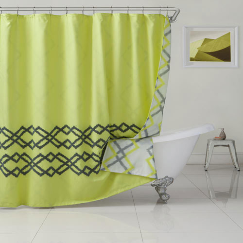 Kelsey Yellow Green Reversible Shower Curtain