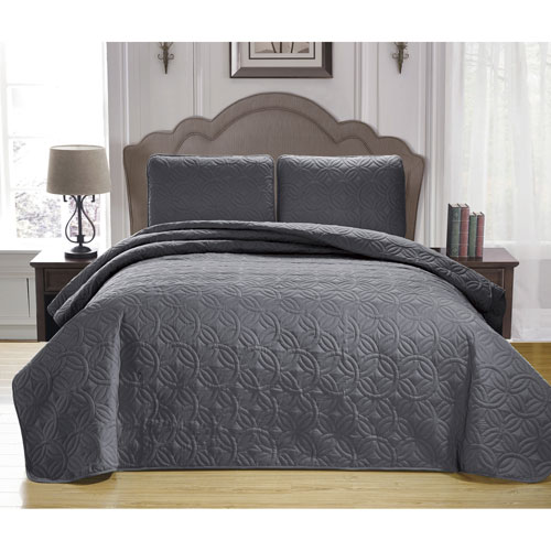 Leda Grey Full/Queen Three-Piece King Bedspread Set