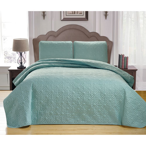 Leda Spa Green Full/Queen Three-Piece Bedspread Set