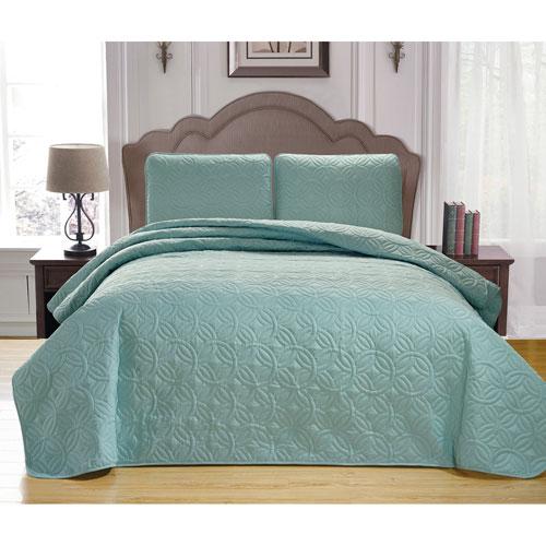 Leda Spa Green King Three-Piece Bedspread Set