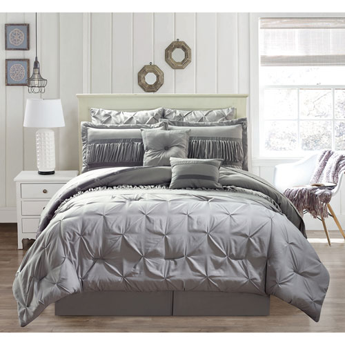 Marlin Silver Queen Ten-Piece Comforter Set