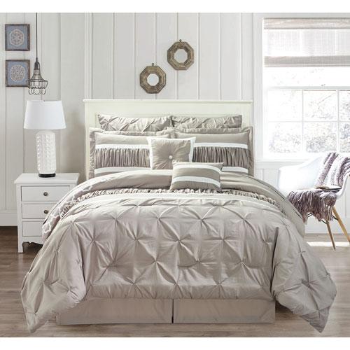 Marlin Taupe Queen Ten-Piece Comforter Set