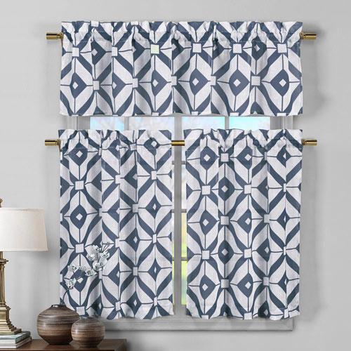 Mckenna Blue Three-Piece Faux Linen Kitchen Curtain Set