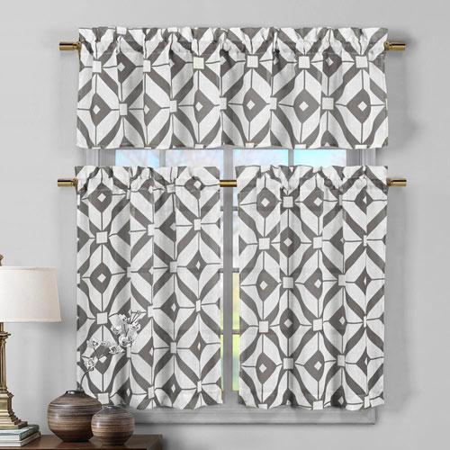 Mckenna Grey Three-Piece Faux Linen Kitchen Curtain Set