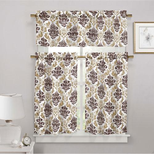 Duck River Textile Melbourne Brown Three-Piece Faux Linen Kitchen Curtain Set