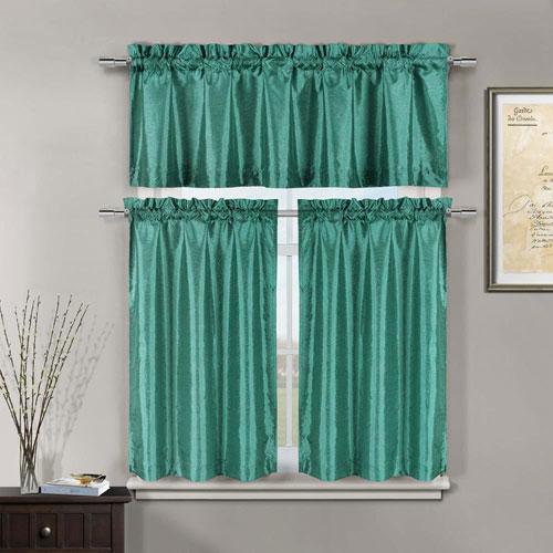 Minka Teal Three-Piece Kitchen Curtain Set