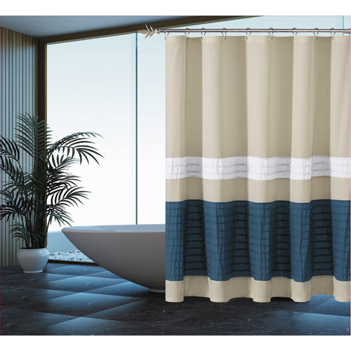 Portico Beige and Blue Pleated Shower Curtain