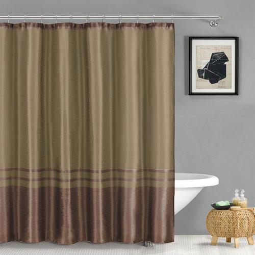 Sabrina Chocolate Faux Silk Shower Curtain
