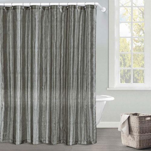 Sasha Silver Ombre Faux Silk Shower Curtain
