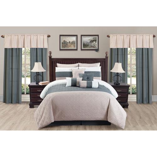 Somorset Taupe Queen Twenty-Piece Oversize/Overfilled Comforter Set