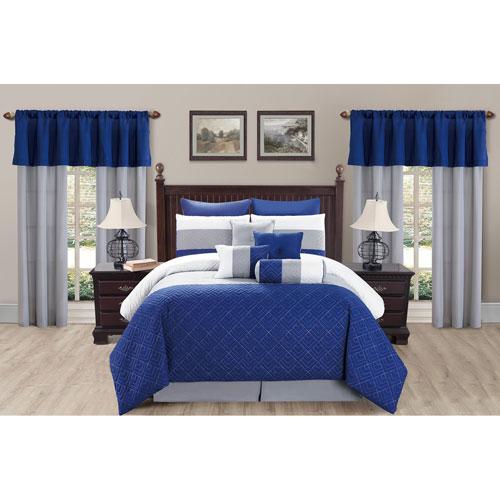 Somorset Indigo Queen Twenty-Piece Oversize/Overfilled Comforter Set