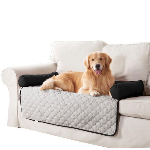 Wubba Silver-Black Small Dog Bed Couch Cover