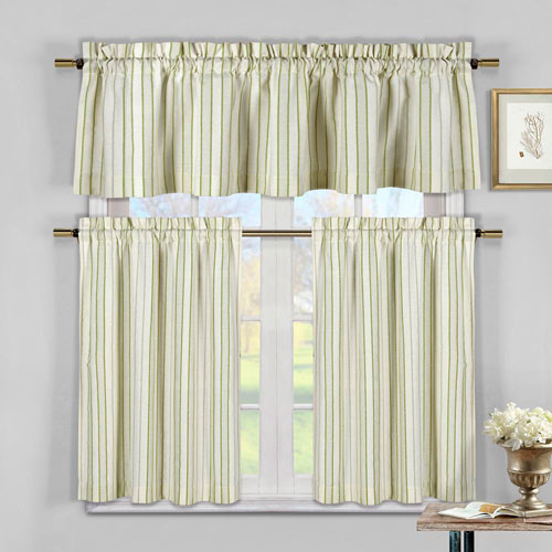 Xandra Sage Stripe Three-Piece Kitchen Curtain Set