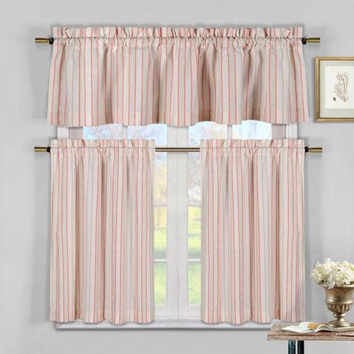 Xandra Tangerine Stripe Three-Piece Kitchen Curtain Set