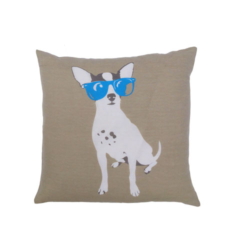 Yeah! Dog with Blue Sunglasses 20 In. Throw Pillow Cover