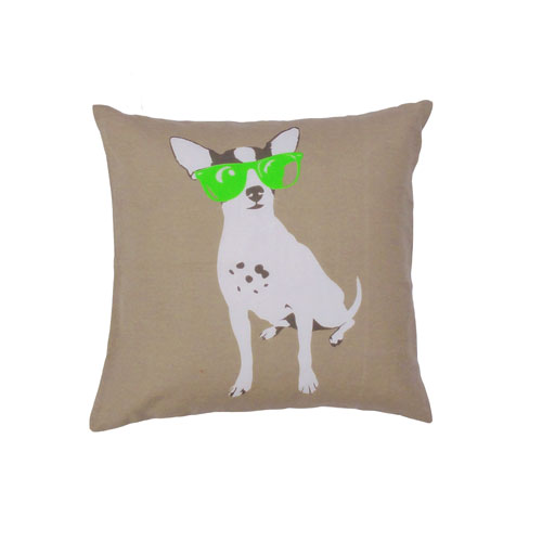 Yeah! Dog with Green Sunglasses 20 In. Throw Pillow Cover