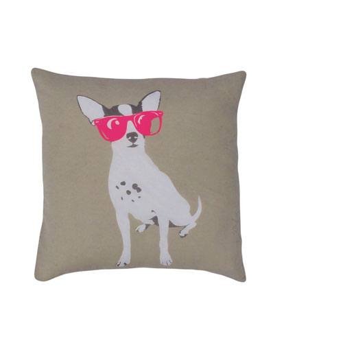 Yeah! Dog with Pink Sunglasses 20 In. Throw Pillow Cover