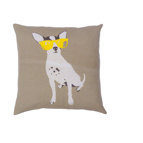 Yeah! Dog with Yellow Sunglasses 20 In. Throw Pillow Cover