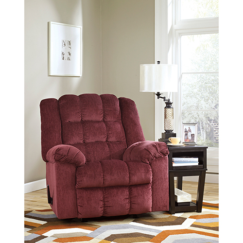 Signature Design by Ashley Ludden Rocker Recliner in Burgundy Twill