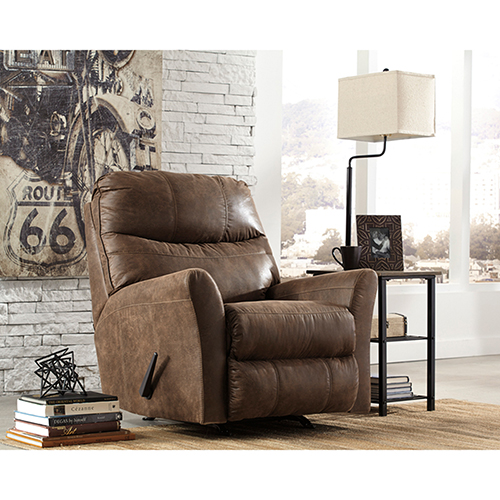 Signature Design by Ashley Tullos Rocker Recliner in Coffee Faux Leather