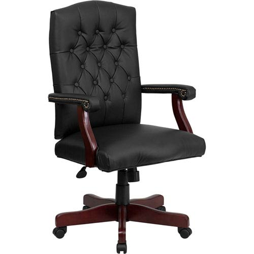 Parkside Black Leather Executive Swivel Office Chair